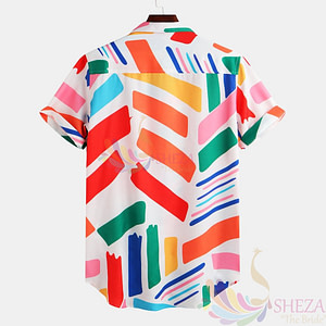 Men's Multicoloured Printed Polycotton Short Sleeves Casual Shirts_1