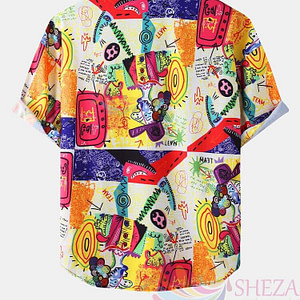 Men's Trendy Graffiti Halloween Special Shirt_1